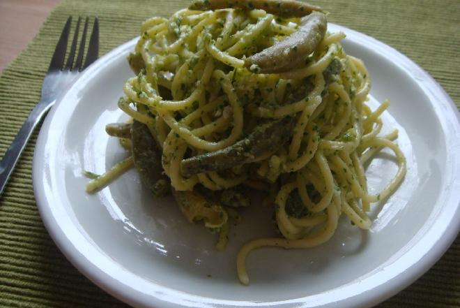 Bezglutenowe spaghetti z fasolką szparagową